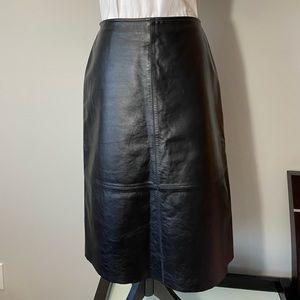 Vintage genuine black leather A- line skirt S6